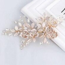 Элегантный ручной работы Золотой Кристалл пресноводный жемчуг цветок Leaf Свадьба зажим для волос заколка свадебный головной убор аксессуары для волос
