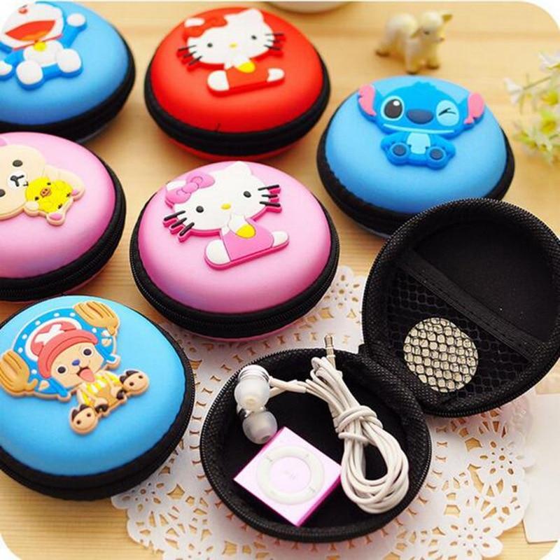 Women Kawaii Animals Cartoon Stitch Hello Kitty Silicone Coin Purse Key kids Girls Wallet Earphone Organizer Box Bags