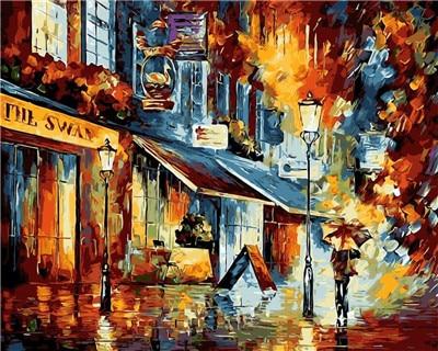 De nacht van koffie winkel straat diy schilderen nummers hand