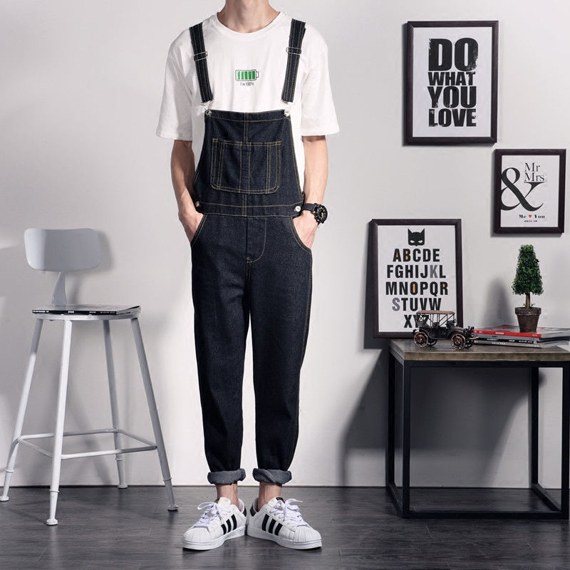 ФОТО One Piece Black Jean Jumpsuits For Men Straight Casual Long Mens Denim Bib Overalls Men Fashion Designer Suspender Trousers