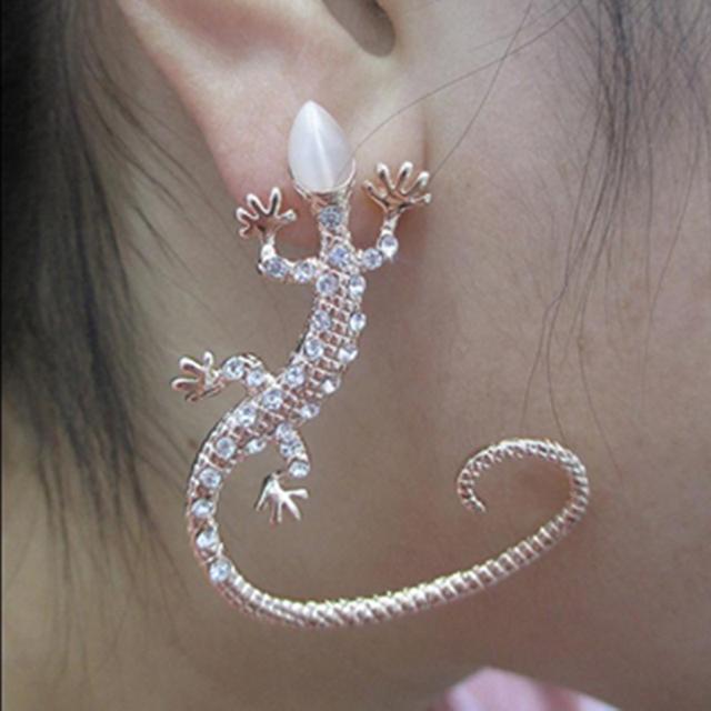 Rhinestone Ear Cuff Earrings Elegant Exaggerated