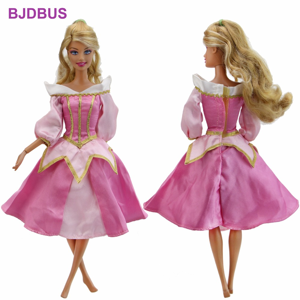 High Quality Fairy Tale Dress Copy Sleeping Beauty Aurora Princess Gown Pink Skirt Clothes For Barbie Doll Accessories Kid Gifts sleeping beauty like princess pet bed for miniature poodle mini schnauzer pekingese etc