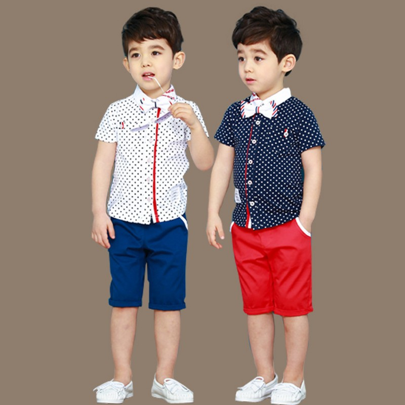 maomaoleyenda New brand Boys Suits Dot Blouse + Shorts Party Wedding Children Clothing Roupas Infantis Kids Clothes