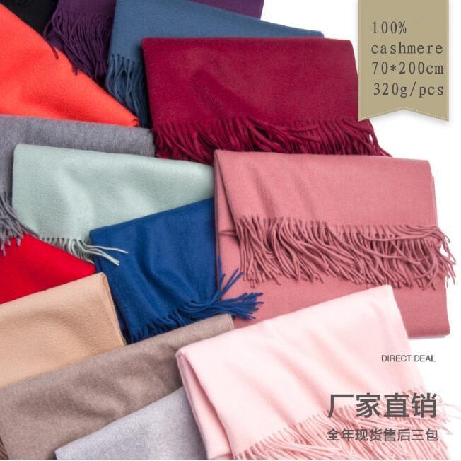 Naizaiga 100 Cashmere scarf 320g solid color thick women fashion pashmina big water ripple scarf brand