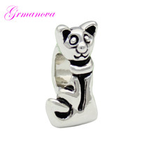 생기네 cartoon cat European 큰 홀 charm beads 암 classic 팝 부적 딘 Fit Pandora Bracelet Women's DIY Jewelry(China)