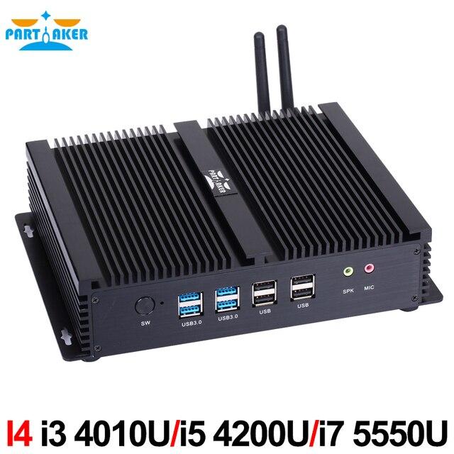 Partaker I4 промышленный Мини компьютер с 6 COM 2 HDMI 2 Lan черный Цвет Intel i3 4005u 4010u i5 4200u i7 4500u процессор 1