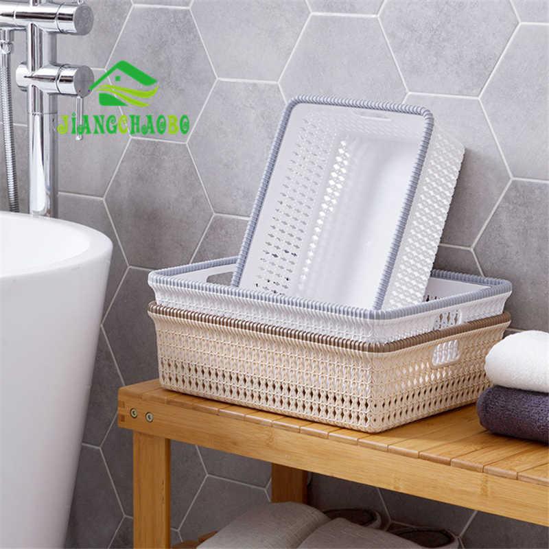 JiangChaoBo Imitação de Vime Cesta de Armazenamento De Desktop Cesta de Cozinha De Plástico Oco Caixa De Armazenamento Do Banheiro Cesta de Armazenamento De Cosméticos