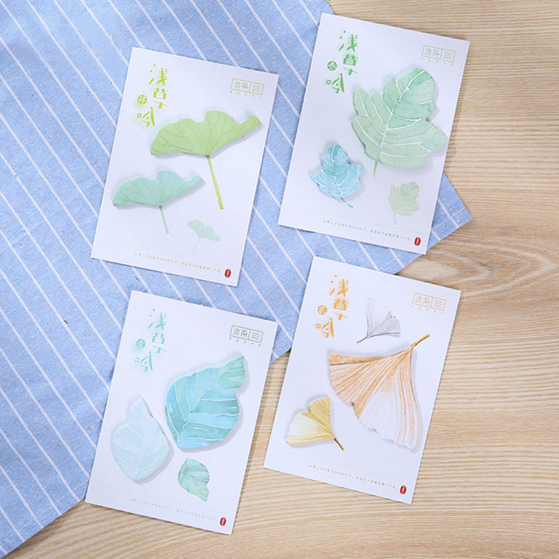 4 pcs/lot Ginkgo biloba leaves ememo pad paper sticky notes post notepad stationery papeleria school supplies Free shipping