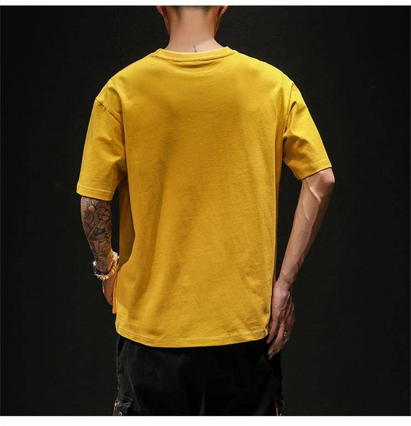 Hip Hop T-shirts Men With pockets Harajuku Oversized Tops Tee Japan Tshirt Streetwear Casual Solid High Street T Shirts Boy 41