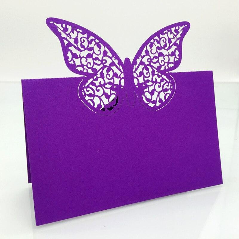 120PC/lot Purple Laser Cut Vine Flower Butterfly Wedding Party Table Name Place Cards Favor ...