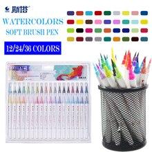 цена 12/24/36 Color Painting Soft Brush Pen Set Watercolor Markers Pen Effect Best For Coloring Books Manga Comic Calligraphy онлайн в 2017 году