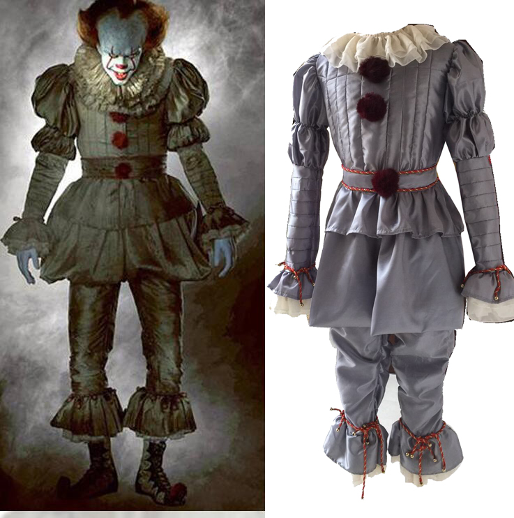Stephen King's It Pennywise Clown Joker Evil Horror Terror Hallowmas Halloween Coat Outwear Pants Suits Outfit Cosplay Costumes