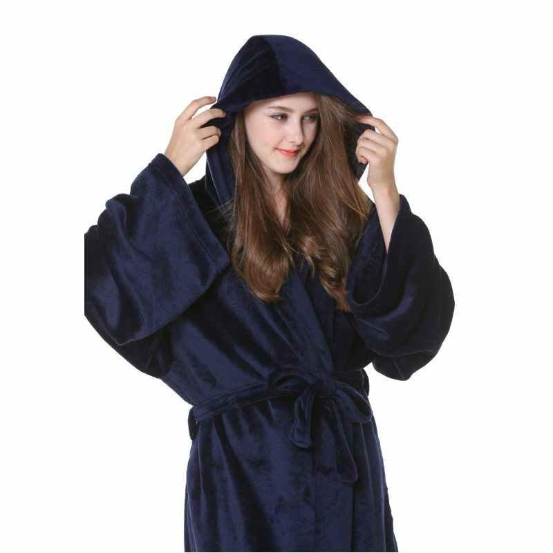 2019 冬のローブ男性パジャマ女性厚み暖かいフランネルローブ男性 Hoodied 襟長袖ローブ腰プラスサイズローブ