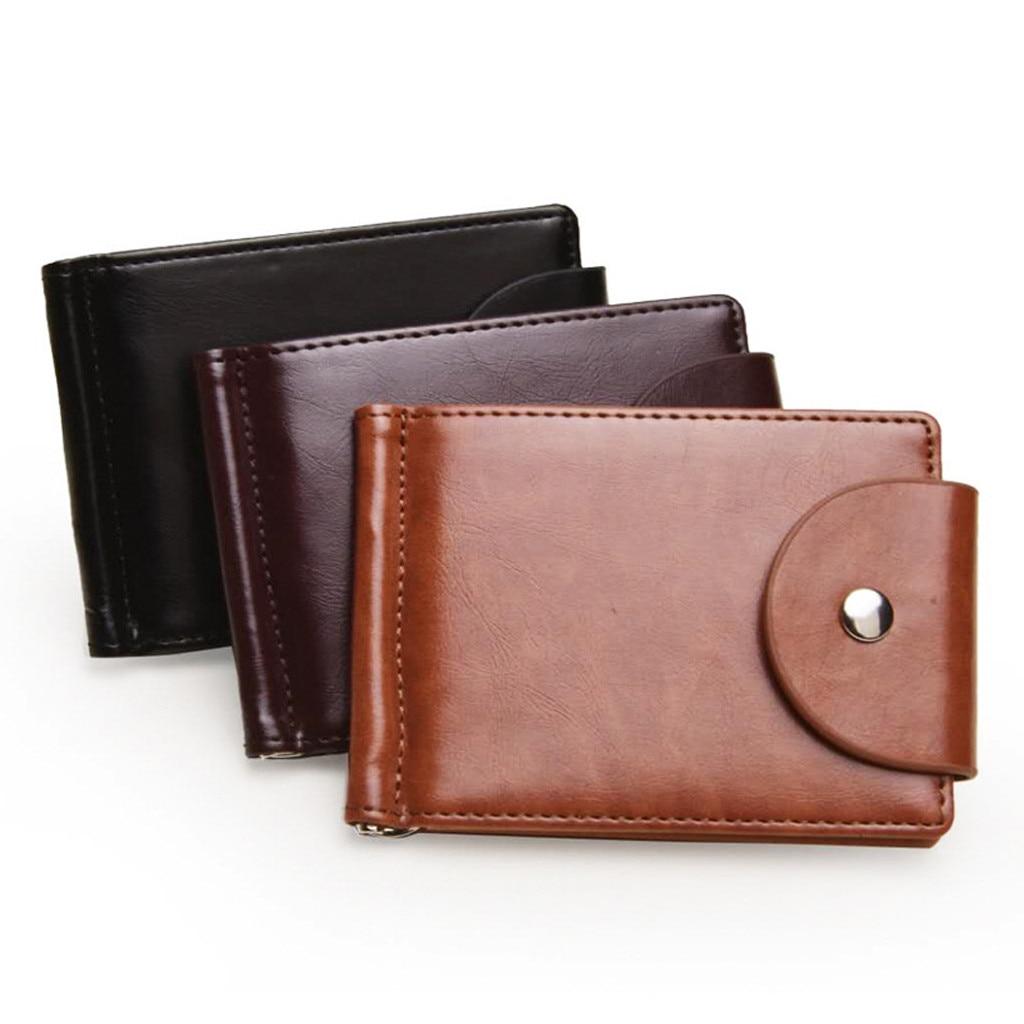 CH Brown Mens Short Vintage Wallet Male Slim PU Leather Wallets Thin Money Dollar Card Holder Purse