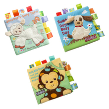 Animal style monkey / sheep / dog newborn baby toys learning education children cloth book cute baby baby fabric book rattle t beautiful sheep postcard book