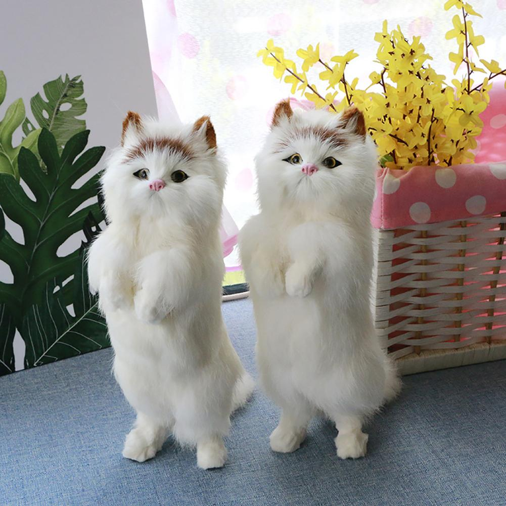 Realistic Cute Soft Standing Fortune Cat Household Photography Props Car Decor Gift Animals Doll Toys Car Decoration Gifts