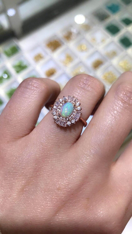 Mode luxueux tournesol naturel multicolore opale anneau S925 argent naturel pierre gemme anneau femmes fille fête cadeau anneau bijoux