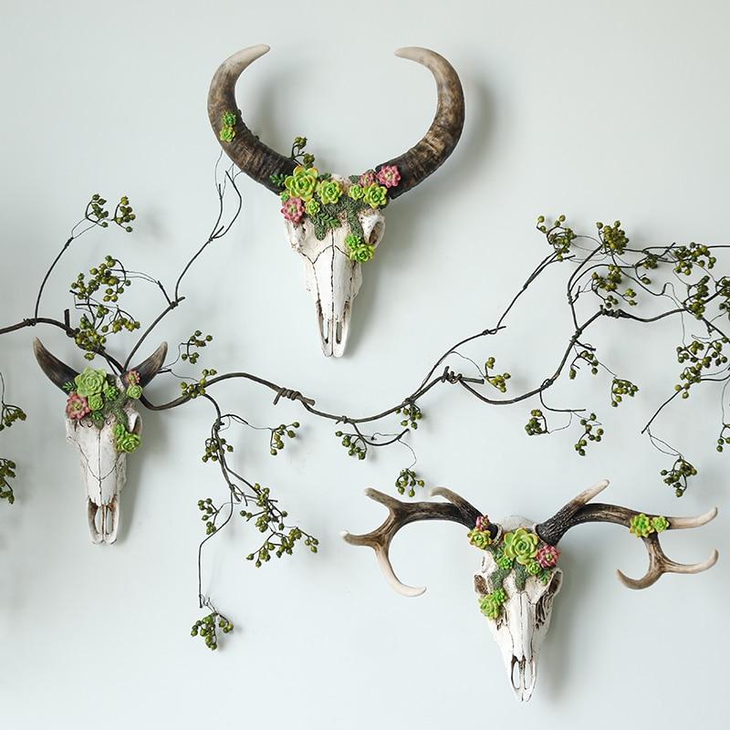 미국 복고풍 벽 장식 크리 에이 티브 사슴 두개골 장식 벽 장식 절묘한 선물 벽 장식-에서피규어 & 미니어처부터 홈 & 가든 의  그룹 1
