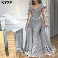 NYZY E136 Luxury Pearls Tulle Gray Arabic Evening Dress Robe Soiree Dubai abendkleider 2019 abiye gece elbisesi
