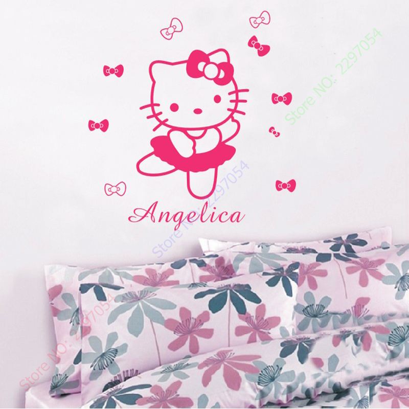 HELLO KITTY Personalized Name Flowers Or Ties Vinyl Wall Decals Art Adesivo  De Parede Princess Wall Stickers Girl Bedroom Decor In Wall Stickers From  Home ...