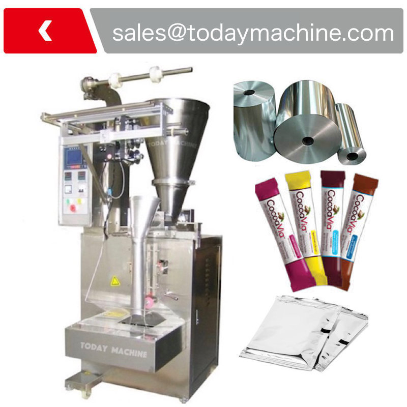 Printed mark identification powder pouch filling sealing and packing machine with auger filler