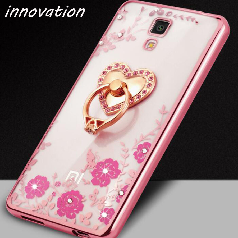 Innovation Flora Bling Diamond Case For Coque Xiaomi Mi4 Crystal Soft TPU Cover For Xiao ...