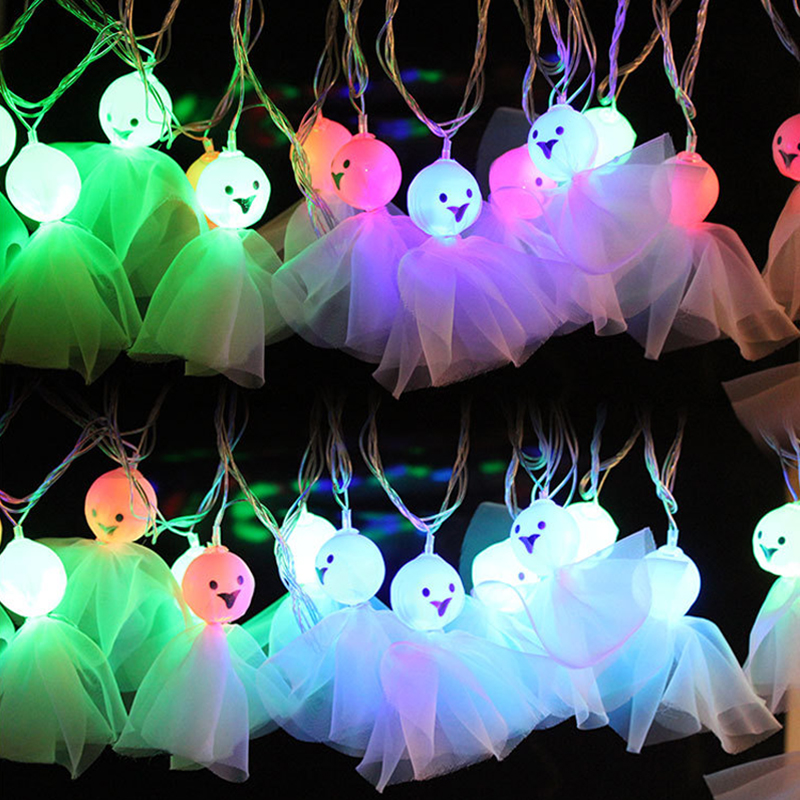 4M 16LEDS Ghost Shape Colorful String Lights Hallowen Fairy Party Wedding Patio Christmas Indoor/Outdoor Decoration