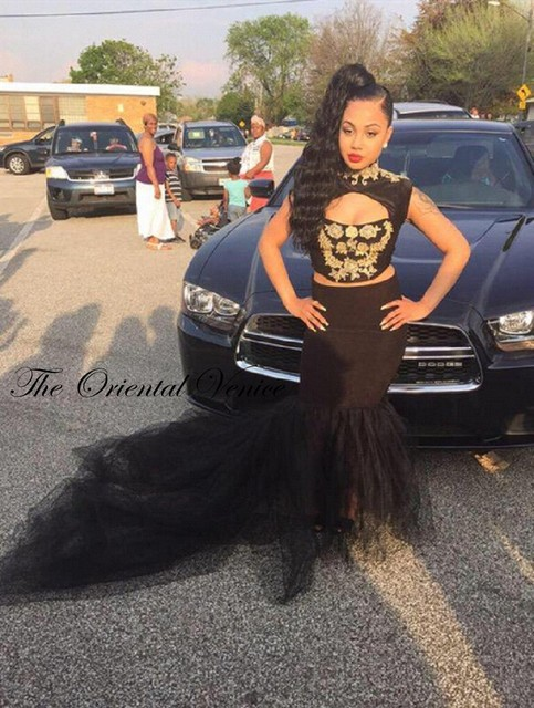 Africano Estilo Preto Da Menina Da Sereia Vestidos de Baile De Alta Pescoço Rendas Ouro apliques Two Piece Prom Vestidos 2017 da soros abiti da cerimonia