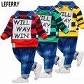 Baby boys polo shirt + jeans ropa de los niños coreanos de la ropa de rayas ropa de los cabritos muchachos determinados de la ropa del niño impresa letra