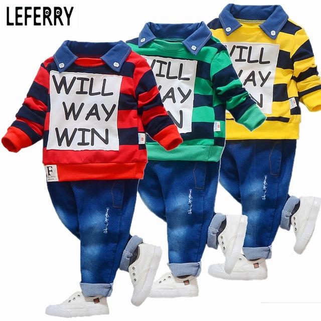 Bebê roupas meninos definir polo camisa listrada + calça jeans crianças coreano roupas infantis roupas criança set roupas meninos letra impressa