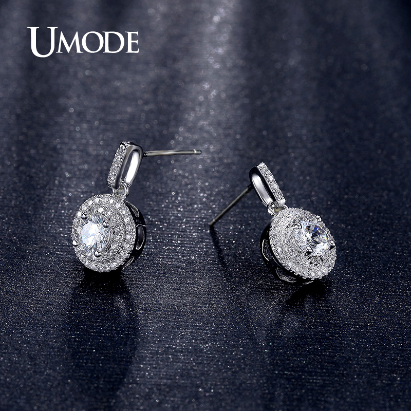 UMODE Crystal Drop Earrings For Women Boucle Doreille Drop White / Rose Gold Color Earrings Jewelry Fashion Brincos AUE0198A