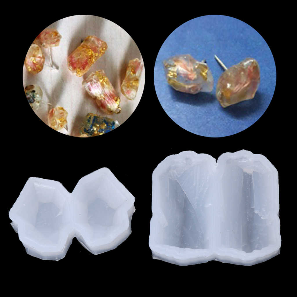 Irregular Multi-faceted Crystal Stone Silicone DIY Earring Mold Jewelry Making