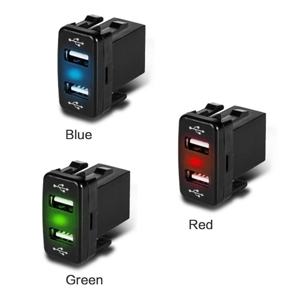 12V Car Dual blutooth USB Charger Mini Cigarette Lighter Socket for Toyota