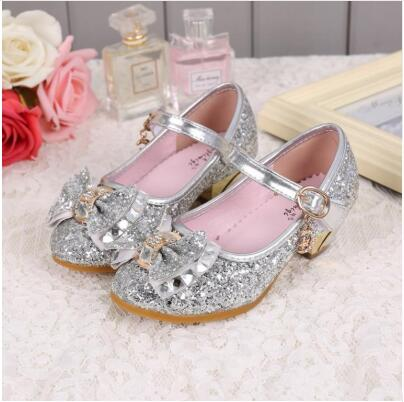 5Colors Children Princess Sandals Kids Girls Wedding Shoes High Heels Dress Shoes Bowtie Gold Shoes For Girls