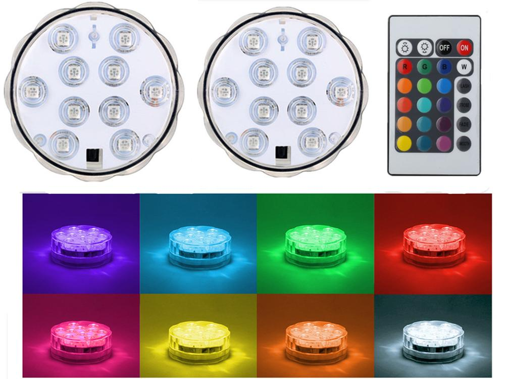 1pc*10LEDs Multicolor Pool light submerisble waterproof Party vase base light Bright Lamp Blub Remote control For wedding decor