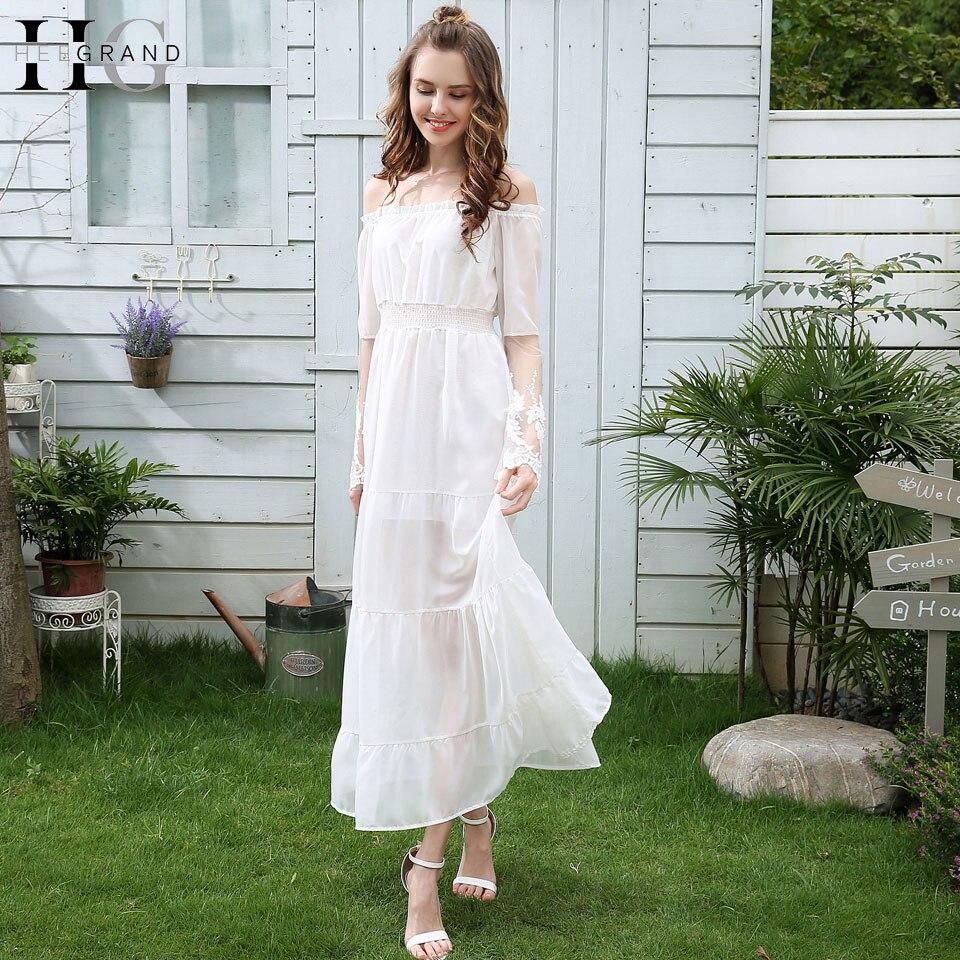 HEE GRAND Elegantes vestidos largos blancos 2018 Nuevo verano de - Ropa de mujer