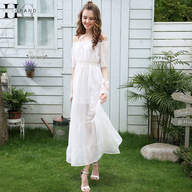 086821d34548 € 10.92 45% de DESCUENTO|Aliexpress.com: Comprar Vestidos largos blancos  elegantes para dama de honor de Novia de encaje manga larga 2018 nuevo ...