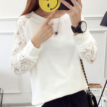 shintimes Blouse Women 2020 Autumn Lace Patchwork Long Sleeve Womens Top And Blouses White Casual Clothes Blusas De Mujer