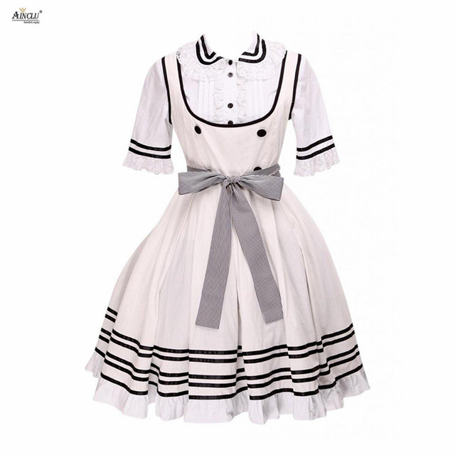 2018 Ainclu Sweet Lolita Dress Womens Beige White Cotton Short Sleeves Bow  Belt Cosplay XS-XXL Lolita Cute Dress 532e3224572e