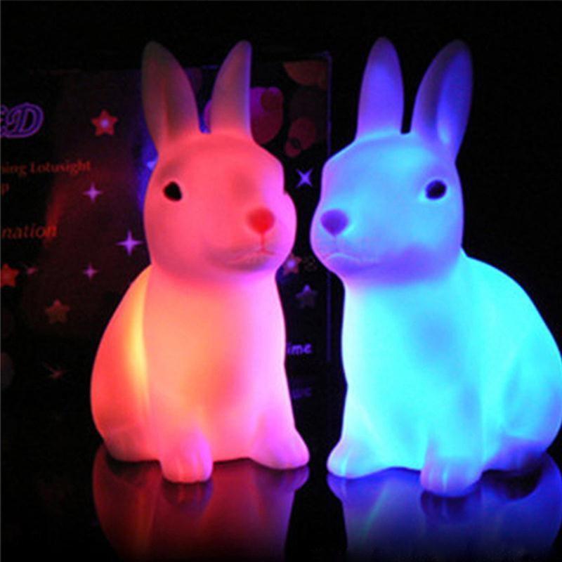 Cute Rabbit LED Night Light Home Decoration Colorful Night Lamp Lantern For Baby Sleeping Bedside Lamp Kids Children Toy Gift A