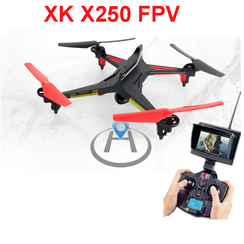 XK X250 FPV Verion with 720P Camera and Monitor 4CH 6 Axis RC Quadcopter RTF Compatible With Futaba S-FHSS xk x250 4ch 6 axis rc quadcopter rtf 2 4g xk alien x250 free shipping