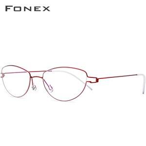 Image 1 - Montura de gafas de aleación de titanio de Ojos de gato sin tornillos para mujer, gafas graduadas para miopía, gafas coreanas de Dinamarca 98616