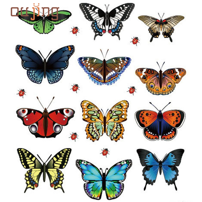 Home Wider Hot Selling Free shipping Safety  New Landscaping Decoration Heart Shaped Stickers 12 Butterfly Stickers Dec13