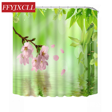 Green Bamboo Flowers Butterfly Rural Style Landscape Shower Curtain Waterproof Mildew Bathroom Custom Made
