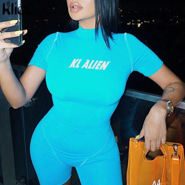 Kliou women skinny bodysuit short sleeve playsuit Reflective letter print rompers 2019 female turtleneck fashion casual bodysuit 4