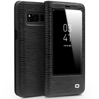 QIALINO Case For Samsung Galaxy S8 Business Lizard Genuine Cowhide Leather View Window Smart Phone Cover