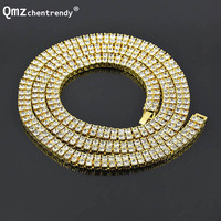 Exaggerated Punk MIAMI CUBAN LINK Two Rows Shiny Large AAA Rhinestone Chains Necklace Sets Hip Hop