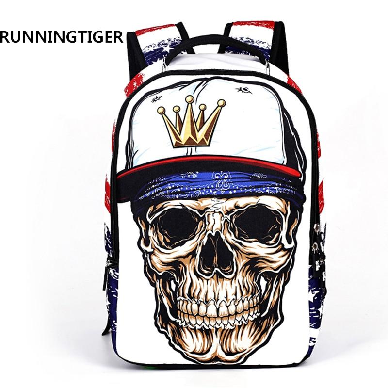RUNNINGTIGER 3D Skull Backpack ظهره للأولاد البوليستر حقائب مدرسية لطلاب الجامعات على ظهره للمراهقين