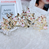 2017 New Baroque Crown Gold Leaf Tairas Dragonfly Bridal Hair Accessories Princess Bridal Crowns Headdress Women