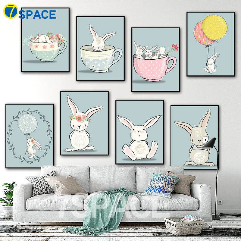 7 space wall art posters and prints modern kawaii for Canvas painting for kids room